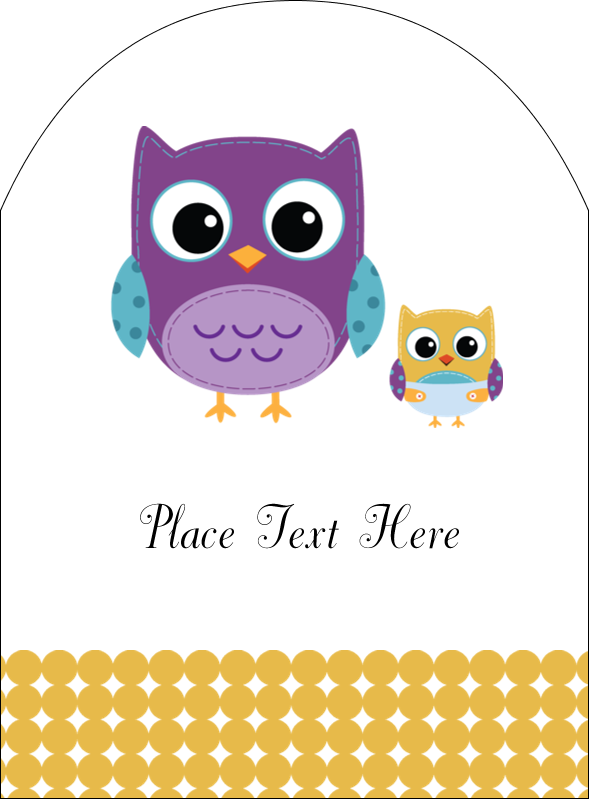 """4¾"""" x 3½"""" Arched Label - Baby Owl"""