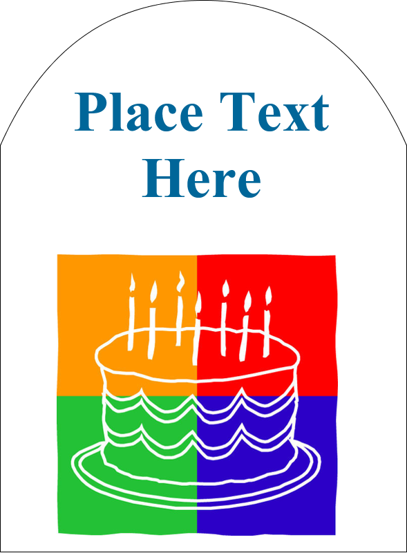 """4¾"""" x 3½"""" Arched Label - Birthday Cake"""
