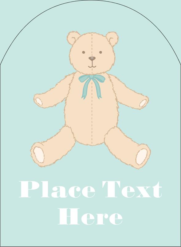 "4¾"" x 3½"" Arched Label - Baby Teddy Bear"