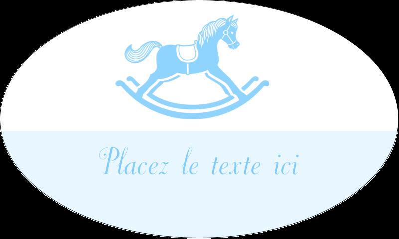 """1½"""" x 2½"""" Étiquettes ovales - Cheval à bascule"""