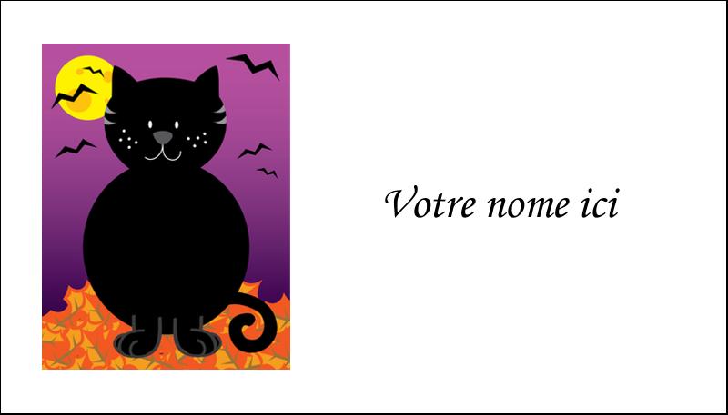 """2"""" x 3½"""" Carte d'affaire - Chatte noire d'Halloween"""