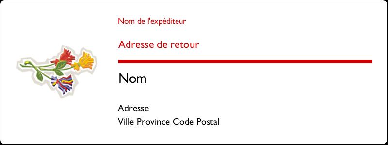"""1½"""" x 4"""" Étiquettes d'adresse - Trois fleurs"""