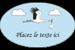 Cigogne et bébé d'antan Étiquettes ovales - gabarit prédéfini. <br/>Utilisez notre logiciel Avery Design & Print Online pour personnaliser facilement la conception.