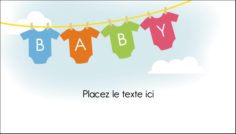 """2"""" x 3½"""" Carte d'affaire - Combinaisons pour bébé"""