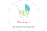 Poussette pour bébé avec tons bleus  Étiquettes rondes - gabarit prédéfini. <br/>Utilisez notre logiciel Avery Design & Print Online pour personnaliser facilement la conception.