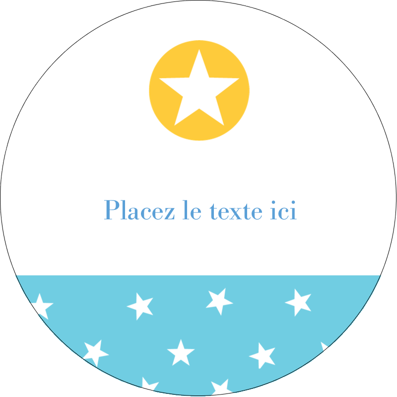 """2½"""" Diameter Étiquettes rondes - Étoiles avec tons bleus et jaunes"""