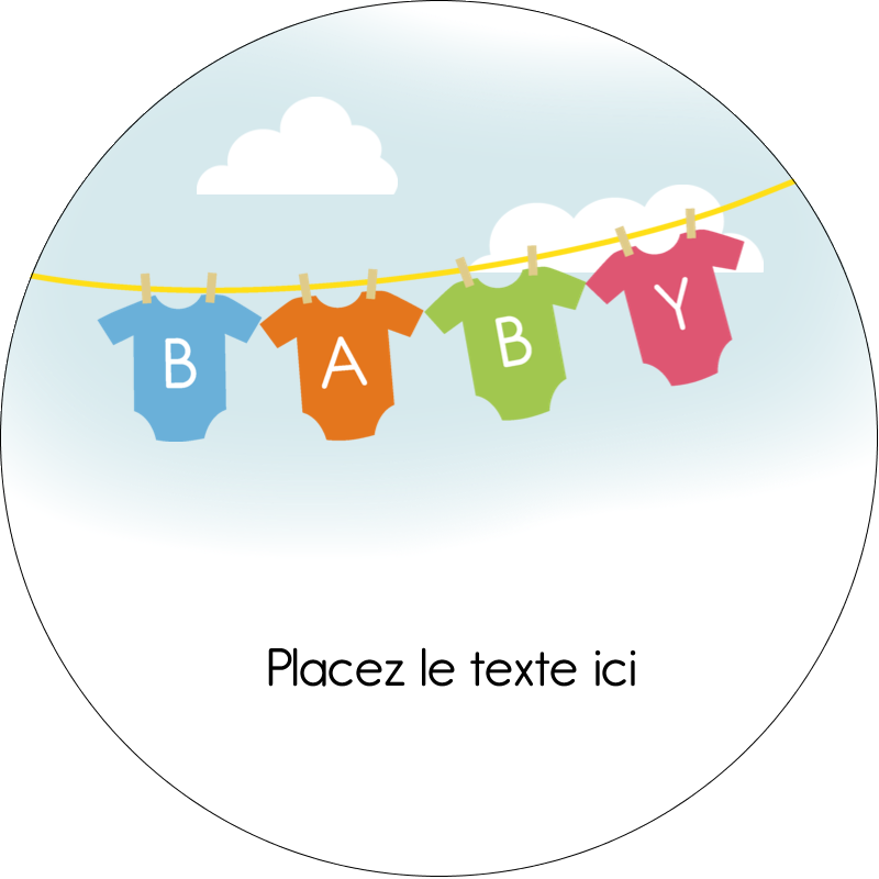 """2½"""" Diameter Étiquettes rondes - Combinaisons pour bébé"""