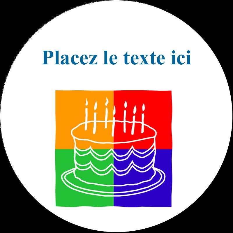 """2½"""" Diameter Étiquettes rondes - Gâteau d'anniversaire"""