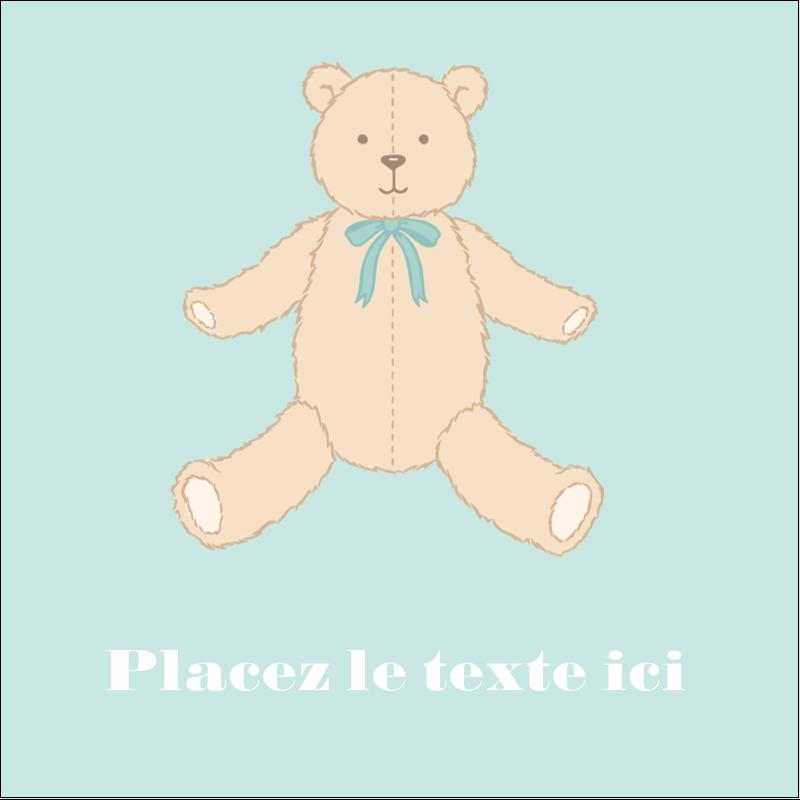 """2"""" x 2"""" Étiquettes carrées - Nounours pour bébé"""