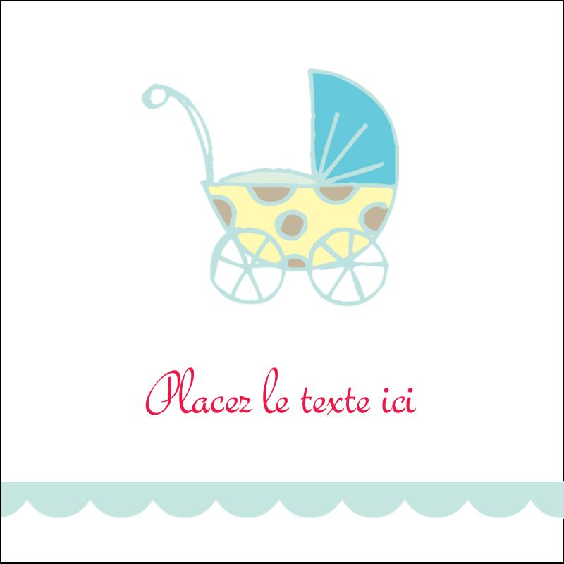 """2"""" x 2"""" Étiquettes carrées - Poussette pour bébé avec tons bleus"""