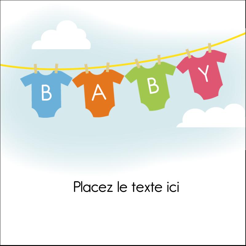 """2"""" x 2"""" Étiquettes carrées - Combinaisons pour bébé"""