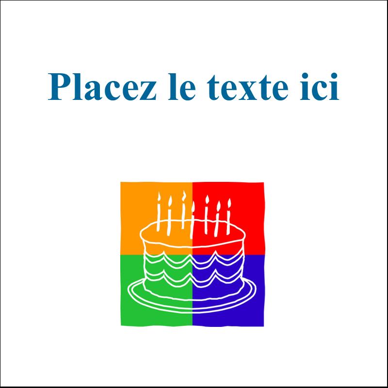 """2"""" x 2"""" Étiquettes carrées - Gâteau d'anniversaire"""