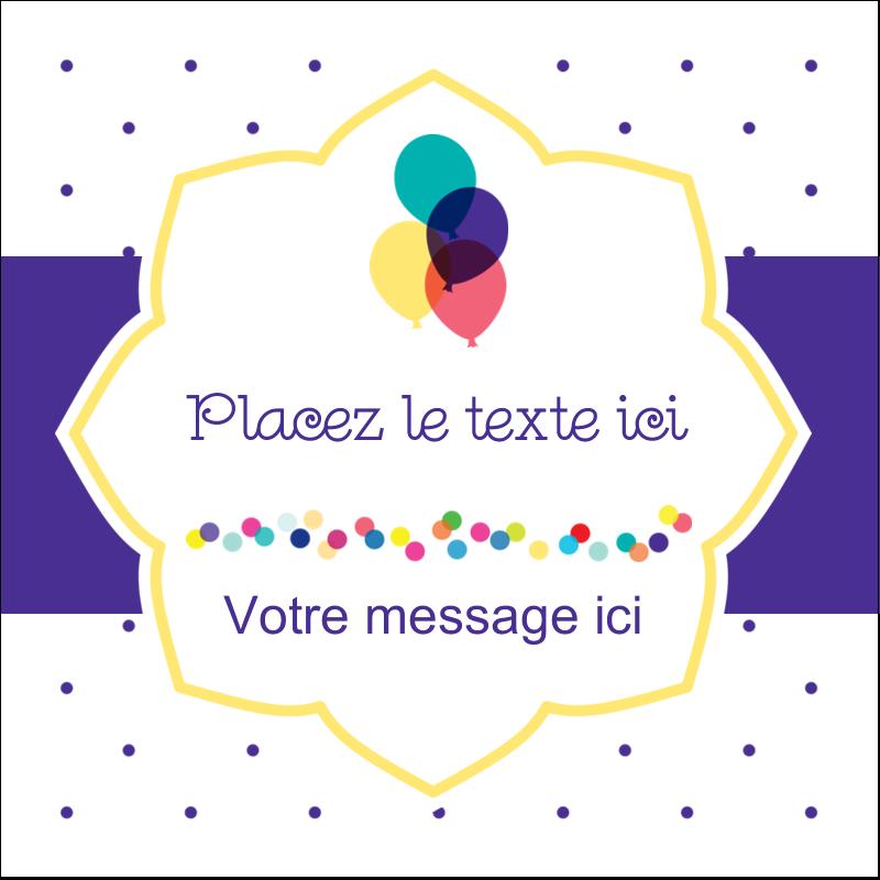 """1½"""" x 1½"""" Étiquettes carrées - Fournitures d'anniversaire"""