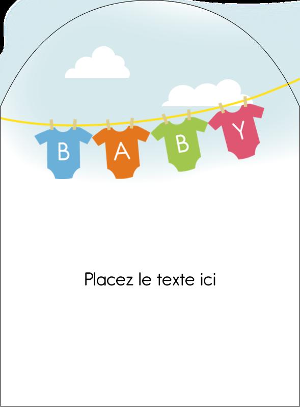 """4¾"""" x 3½"""" Étiquettes arrondies - Combinaisons pour bébé"""