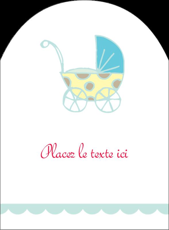 """4¾"""" x 3½"""" Étiquettes arrondies - Poussette pour bébé avec tons bleus"""