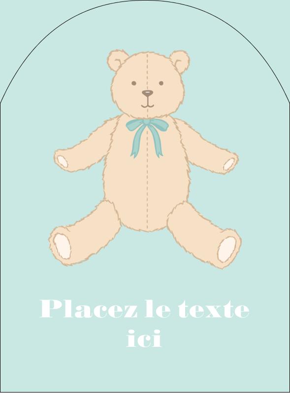 """4¾"""" x 3½"""" Étiquettes arrondies - Nounours pour bébé"""
