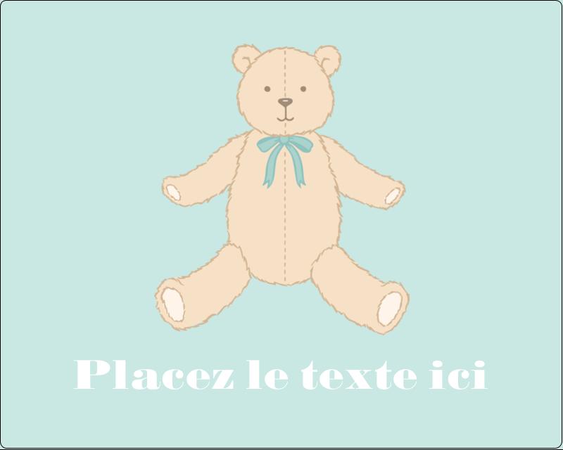 """3"""" x 3¾"""" Étiquettes rectangulaires - Nounours pour bébé"""
