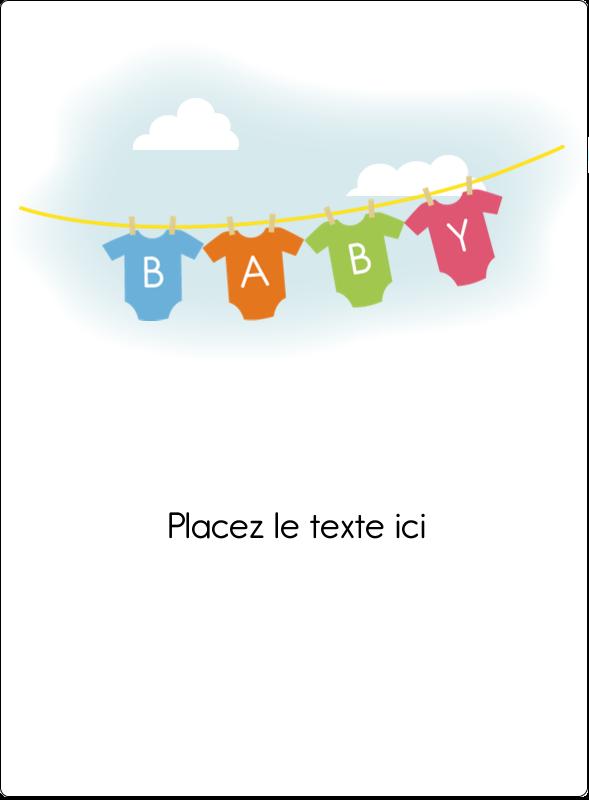 """4¾"""" x 3½"""" Étiquettes rectangulaires - Combinaisons pour bébé"""