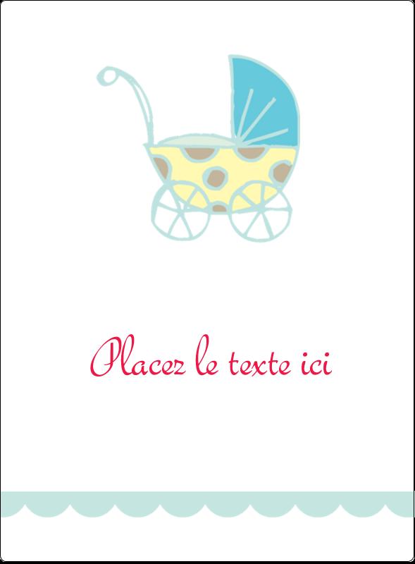 """4¾"""" x 3½"""" Étiquettes rectangulaires - Poussette pour bébé avec tons bleus"""