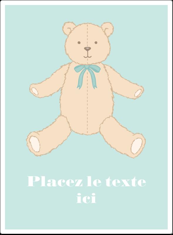 """4¾"""" x 3½"""" Étiquettes rectangulaires - Nounours pour bébé"""