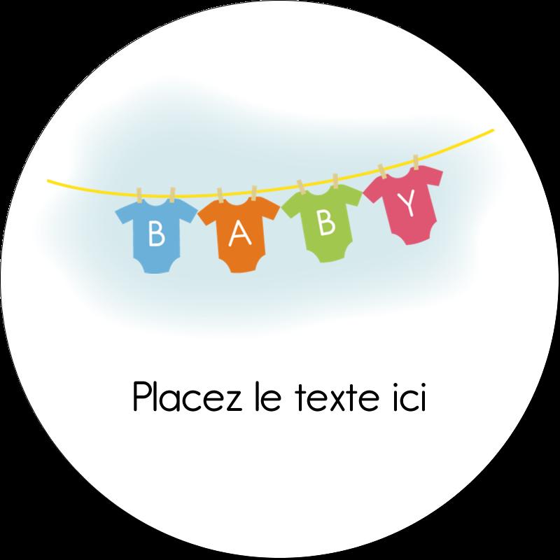 """2"""" Diameter Étiquettes rondes gaufrées - Combinaisons pour bébé"""