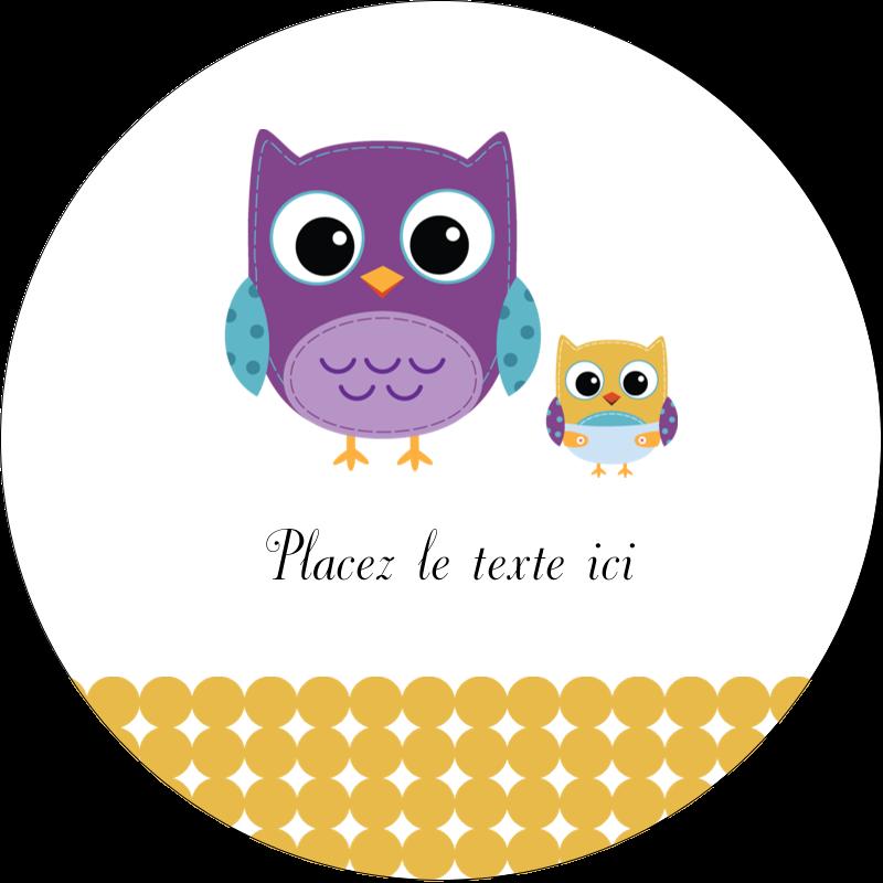 """2"""" Diameter Étiquettes rondes gaufrées - Bébé hibou"""