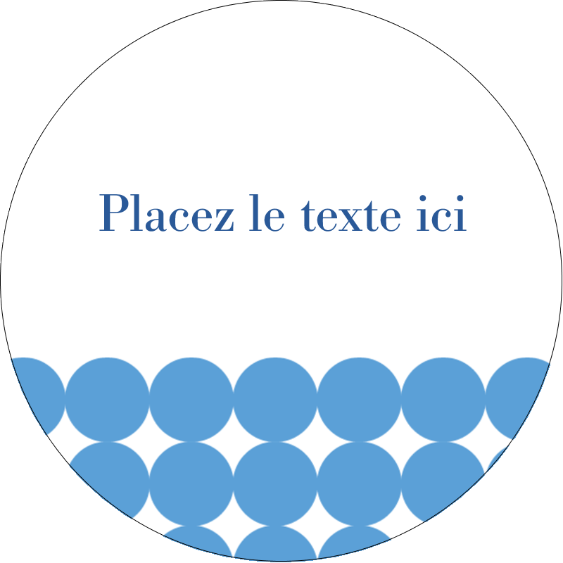 """2"""" Diameter Étiquettes rondes gaufrées - Cercles bleus"""