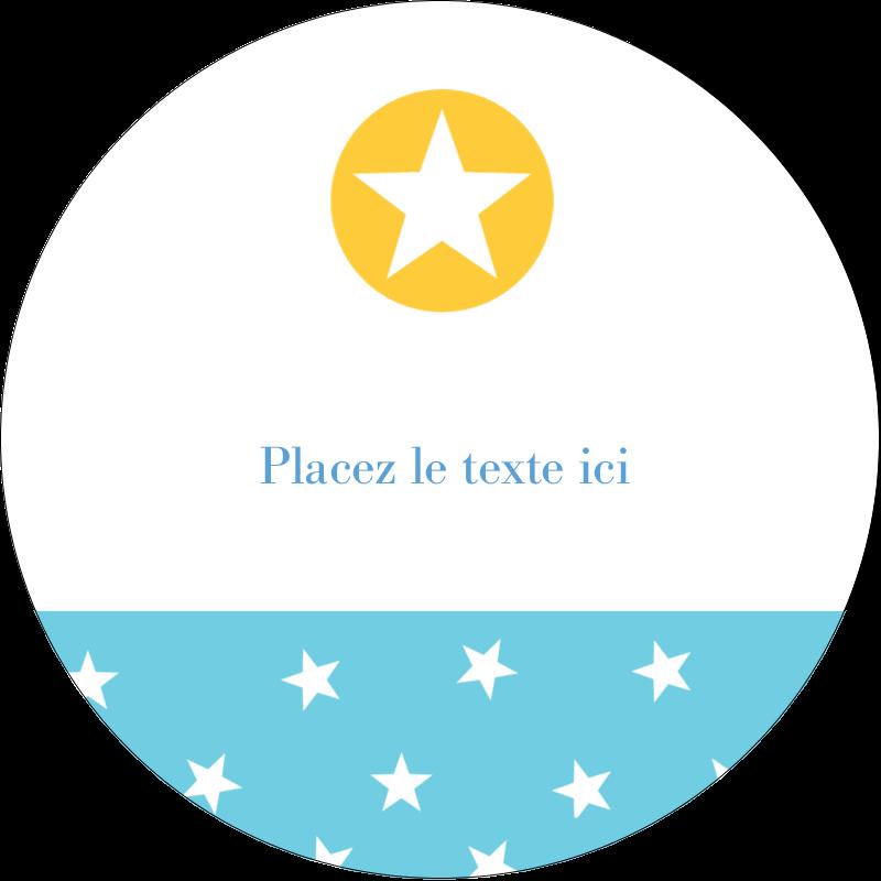 """2"""" Diameter Étiquettes rondes gaufrées - Étoiles avec tons bleus et jaunes"""