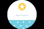 Étoiles avec tons bleus et jaunes Étiquettes rondes gaufrées - gabarit prédéfini. <br/>Utilisez notre logiciel Avery Design & Print Online pour personnaliser facilement la conception.