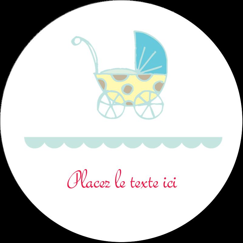 """2"""" Diameter Étiquettes rondes gaufrées - Poussette pour bébé avec tons bleus"""