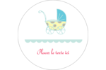 Poussette pour bébé avec tons bleus  Étiquettes rondes gaufrées - gabarit prédéfini. <br/>Utilisez notre logiciel Avery Design & Print Online pour personnaliser facilement la conception.