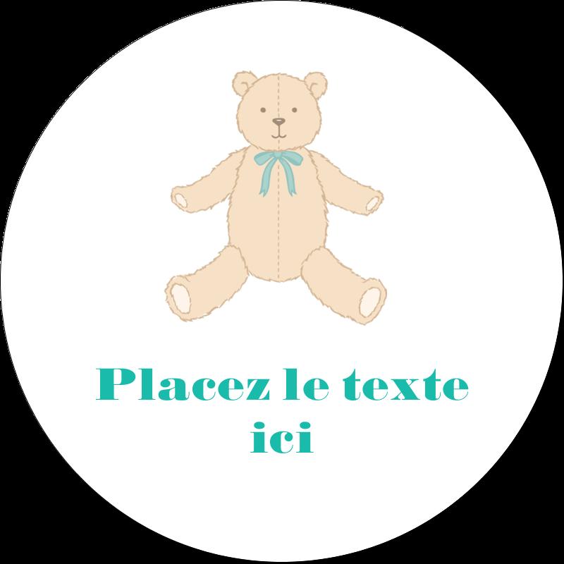 """2"""" Diameter Étiquettes rondes gaufrées - Nounours pour bébé"""