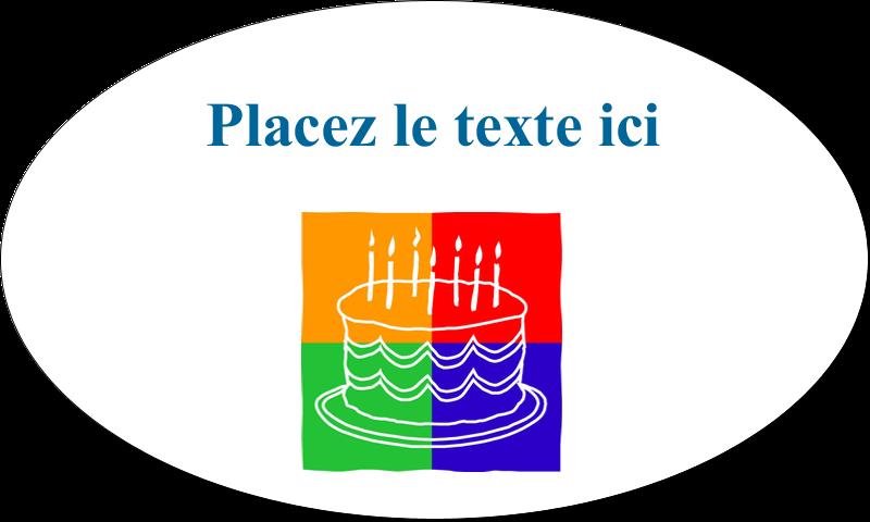 """1½"""" x 2½"""" Étiquettes ovales - Gâteau d'anniversaire"""