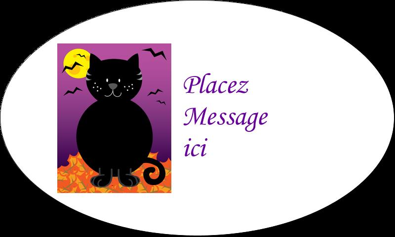 """1½"""" x 2½"""" Étiquettes ovales - Chatte noire d'Halloween"""