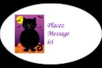 Chatte noire d'Halloween Étiquettes ovales - gabarit prédéfini. <br/>Utilisez notre logiciel Avery Design & Print Online pour personnaliser facilement la conception.