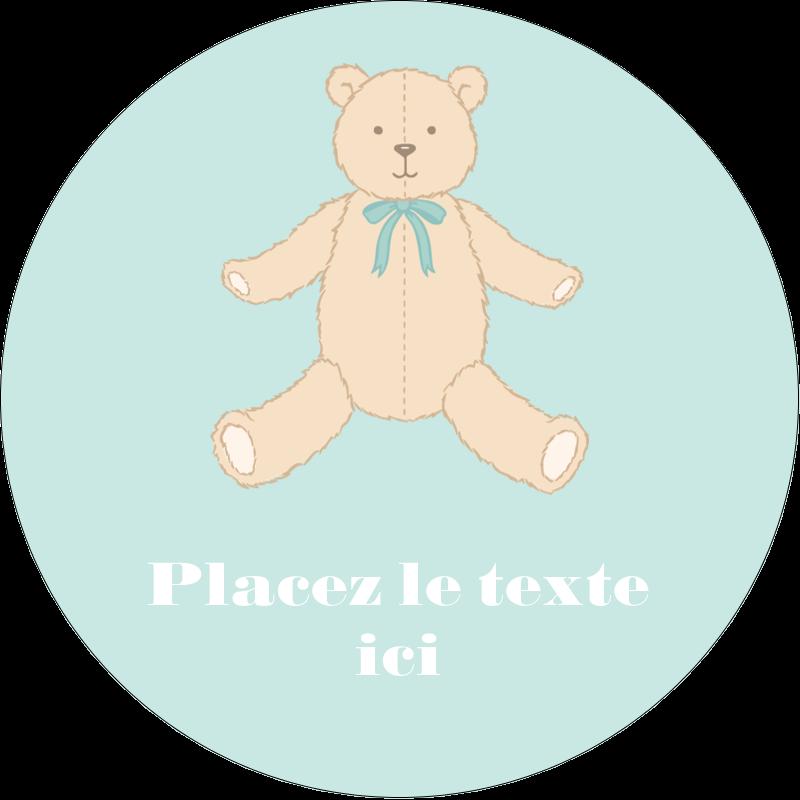 """2½"""" Diameter Étiquettes rondes - Nounours pour bébé"""