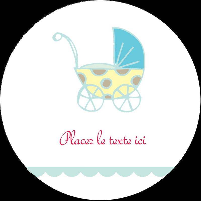 """2½"""" Diameter Étiquettes rondes - Poussette pour bébé avec tons bleus"""