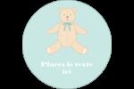 Nounours pour bébé Étiquettes rondes - gabarit prédéfini. <br/>Utilisez notre logiciel Avery Design & Print Online pour personnaliser facilement la conception.