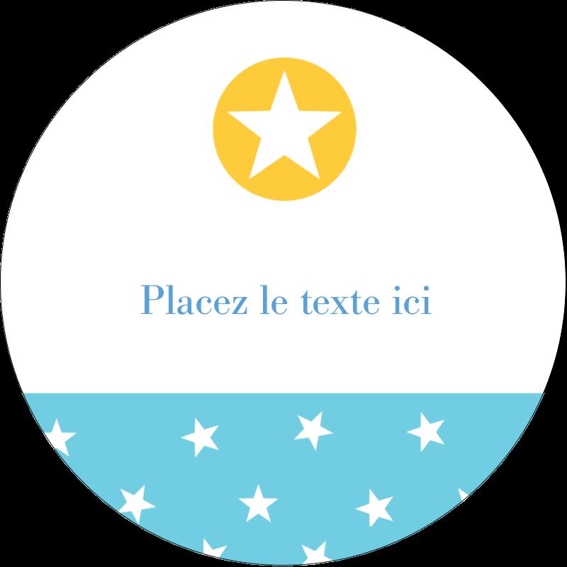 """2"""" Diameter Étiquettes rondes - Étoiles avec tons bleus et jaunes"""