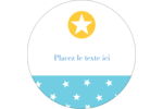 Étoiles avec tons bleus et jaunes Étiquettes rondes - gabarit prédéfini. <br/>Utilisez notre logiciel Avery Design & Print Online pour personnaliser facilement la conception.