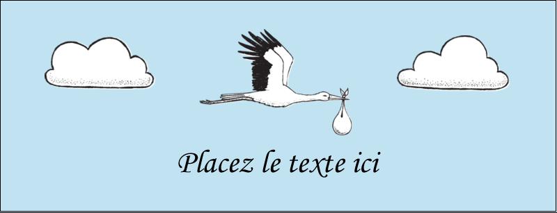 """1-7/16"""" x 3¾"""" Affichette - Cigogne et bébé d'antan"""