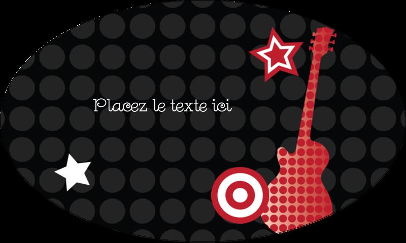 """1½"""" x 2½"""" Étiquettes ovales - Guitare d'anniversaire"""