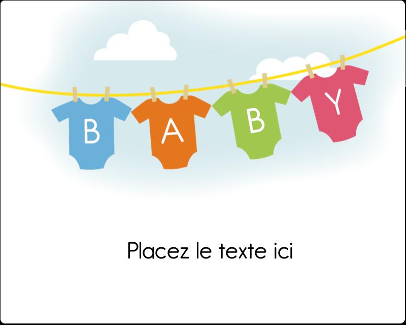 """3"""" x 3¾"""" Étiquettes rectangulaires - Combinaisons pour bébé"""