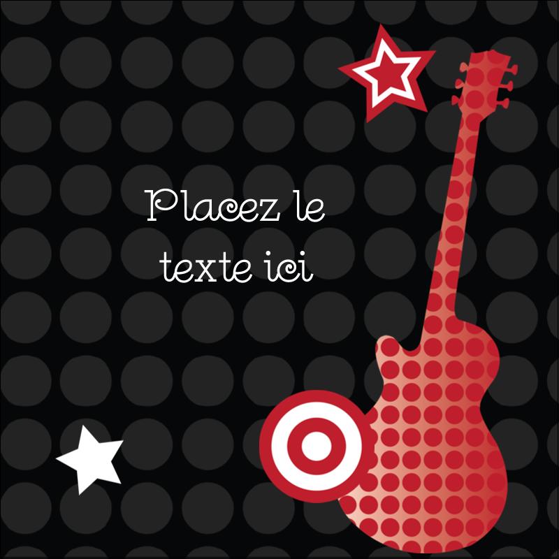 """2"""" x 2"""" Étiquettes carrées - Guitare d'anniversaire"""