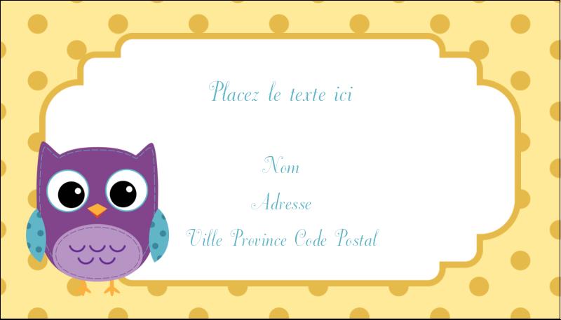 """2"""" x 3½"""" Carte d'affaire - Bébé hibou"""