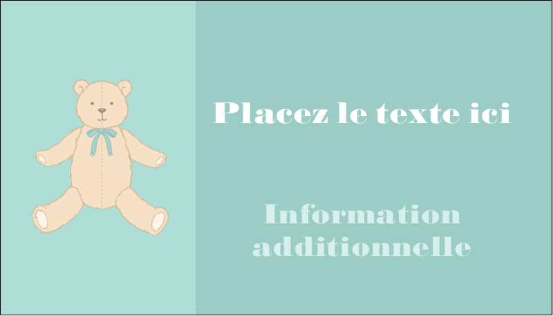 """2"""" x 3½"""" Carte d'affaire - Nounours pour bébé"""
