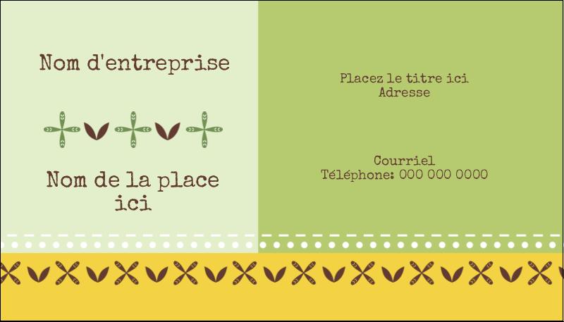 """2"""" x 3½"""" Carte d'affaire - Fleurs vertes géométriques"""