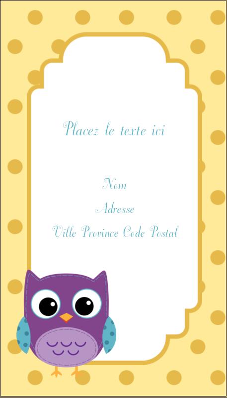 """3½"""" x 2"""" Carte d'affaire - Bébé hibou"""