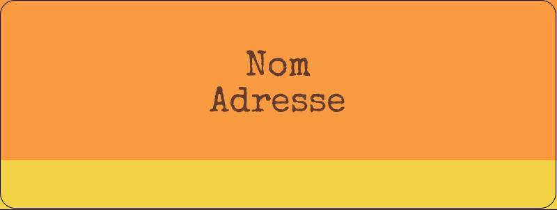"""⅔"""" x 1¾"""" Étiquettes D'Adresse - Fleurs orange géométriques"""