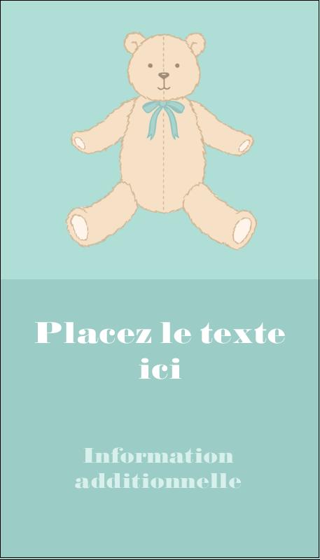 """3½"""" x 2"""" Carte d'affaire - Nounours pour bébé"""